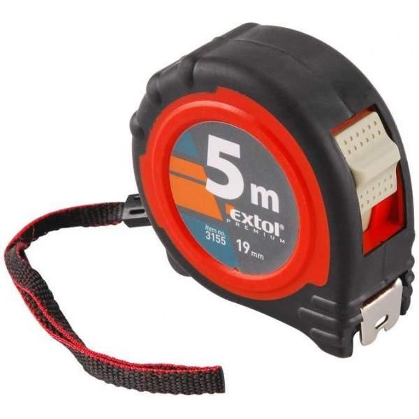 Meter zvinovací EXTOL Premium, pogumovaný s magnetom, 3x brzda, 5m, šírka pásu 19mm, 3125