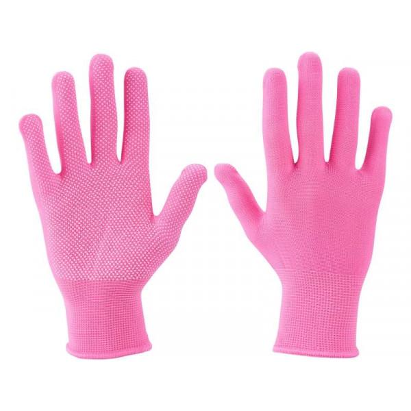 """Ružové rukavice polyester PVC terčíky 7"""" EXTOL 99719"""