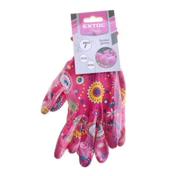 """Ružové rukavice nylonové máčané v nitrile 7"""" EXTOL 8856669"""
