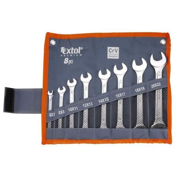 Kľúče vidlicové EXTOL Premium, sada 8ks,Cr-V, 6-22mm, 6119