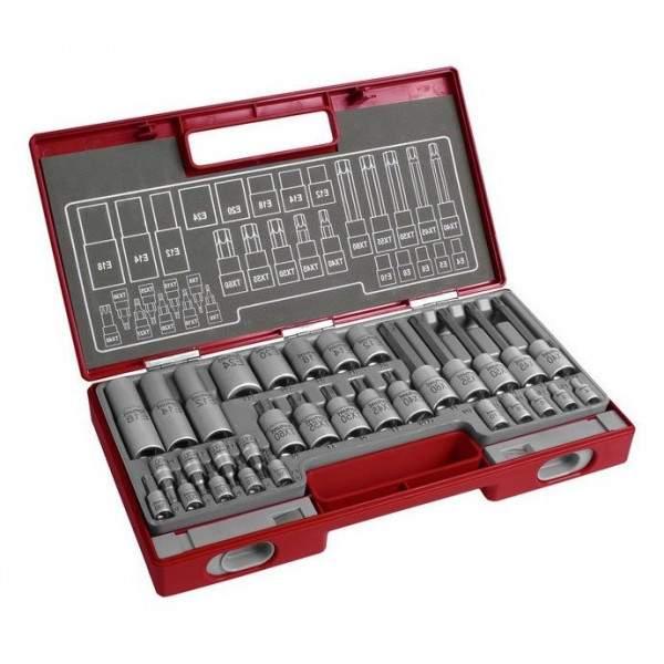 Kľúče zástrčné a nástrčné Torx FORTUM Professional, sada 32ks, 4700020