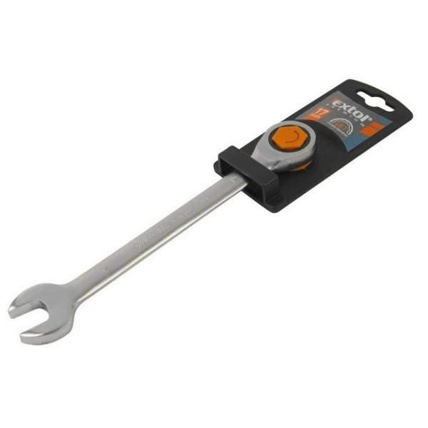 Ráčňový kľúč EXTOL Premium očko-vidlicový, 72 zubov, Cr-V