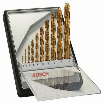 10-dielna súprava vrtákov do kovu BOSCH Robust Line HSS-TiN, 135°, 2607010536